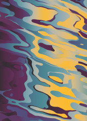 abstract liquid sky dusk dawn warm blue yellow colorful silent pale shapes surreal floating cool curves pattern space modern smooth psychedelic