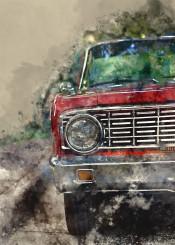cars watercolor vinatage