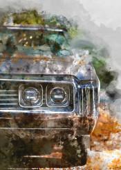 cars vintage paint watercolor