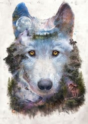 wolf wolves moon forest nature natural outdoors wild wildlife howl eyes dogs trees mountains hiking explore adventure free magic fantasy surreal surrealism collage painting spirit native tribal