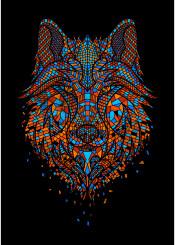 wolf mosaik neon artsy