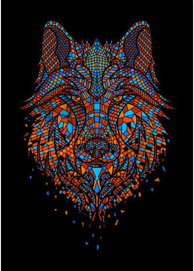 GODZILLARGE  Animal Mosaics   Displate Prints on Steel
