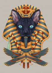 cat animal meow sphinx egypt egyptian pharoah digital design cool unique colors painting illustration guardians