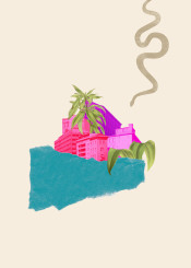 city cityscape architecture snake leaves plants nature colorful colourful teal sand magenta pink purple surreal vintage