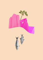 city cityscape fish fishes palm colorful colourful magenta pink purple vintage surreal wave architecture animal palmtree