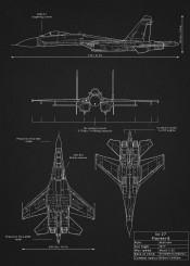 su27 flanker weapon war design blueprint schematic diagram fighter jet combat plane aircraft airplane