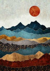 landscape abstract contemporary nature mountains gold bronze copper silver blue red orange sun moon digital watercolor texture dream wanderlust amber