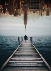 man dock water landscape nyc doubleexposure surreal