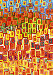 pattern square squares rectangles colorful modern abstract watercolor red orange yellow rhythm bright vibrant color cool lovely beautiful