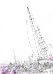 sailing traveling travel boat sights pink white