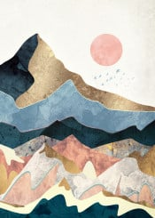 gold peaks mountains hills landscapes nature abstract contemporary navy blue pink blush yellow birds dream wanderlust moon sun