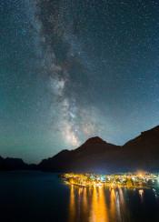 galaxy stars milkyway astro night sky town light mountain lake canada waterton alberta epic landscape scenic