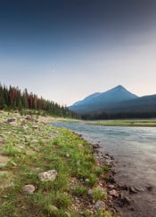 mountains landscape rockies lake river stream scenic enchanted forest sunset sky moon epic cool awesome alberta canada jasper