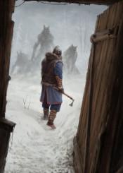 werewolves werewolf vikings scary winter storytelling fantasy dark conceptart illustration jakubrozalski