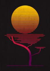 moon sun tree trees nature sunset sunrise africa frica africasunset vintage retro illustration minimalist color