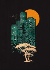 building city forest jungle deer birds moon sun illustration retro vintage classic cool