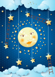 night moon moonlight star scale ladder climbing cloud sky surreal fantasy dream dreaming suggestive magical fairy tale imagination face cartoon character dark kid
