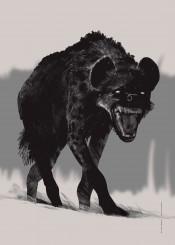 hyena animal animals wildlife retina black