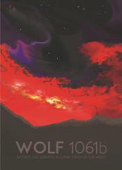 space nasa travel deco wolf 1061b aurora fire sky solar system exo planets