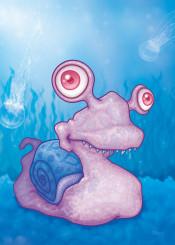 ocean animal sea shell snail slug cartoon water pink purple blue life seasnail seashell jellyfish mollusk goofy silly cute