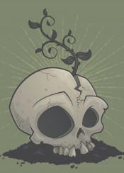 death planter rot growth sapling soil skeleton cartoon dead horror flower skull decay folliage organic