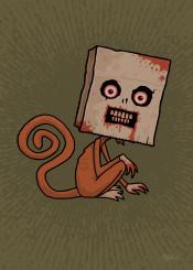 paper bag mammal animal blood psycho brown rabid mad crazy cartoon sack demented monkey primate insane scary spooky violent