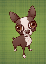 pet canine dog boston terrier pup puppy cartoon cute chihuahua