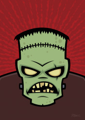 zombie monster green reanimated cartoon halloween dead scary horror frankenstein creature spooky stitches