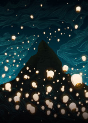 lanterns lights mountain night landscape clouds lines digital illustration home decor fantasy kids magical life soul spirits ascension afterlife