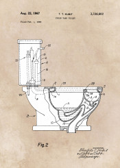 patent patents toilet tank wc bath bathroom decor decoration illustration flush