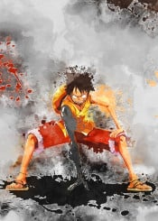 luffy king pirate onepiece watercolor