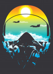 top gun movie film popular culture helmet pilot fighter jet clouds reflection skyline sun rising 80s