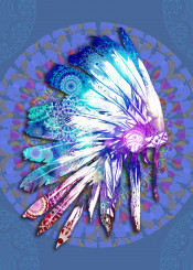native headdress feathers feather color blue purple chief sitting bull warrior artwork design popart mandala oriental ornate spiritual west western southwest decor home wall interiors history usa america decorative modern vintage illustration indian abstract