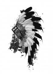 native headdress feathers feather black white chief sitting bull warrior artwork design popart pop west western southwest monochromatic monochrome decor home wall interiors history usa america decorative modern illustration indian