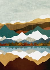 winter lake landscape nature season mountains hills abstract contemporary blue green aqua gold orange amber trees forest digital watercolor water reflection
