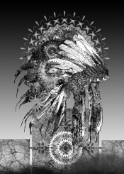 native headdress feathers feather black white grey chief sitting bull warrior artwork design popart mandala oriental ornate spiritual west western southwest decor home wall interiors history usa america decorative modern vintage illustration indian abstract