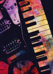 music instrument instruments guitar guitars piano keyboard decor decoration illustration
