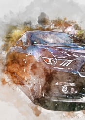 sports cars vintage watercolor