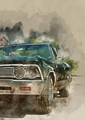 vintage cars watercolor