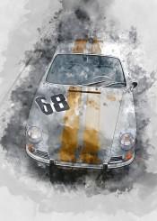 vintage cars racing watercolor