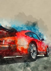 cars red watercolor vintage