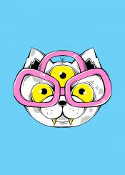 cat animal cute alien dork nerd kawaii eyeglasses