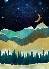 snow winter season landscape nature moon blue navy indigo aqua yellow green abstract contemporary mountains hills trees forest dream