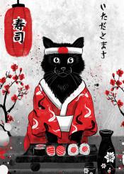 cat kimono japan sake rubyart sushi