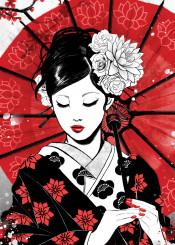 japan geisha rubyart red flower lotus kimono