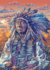 native headdress feathers feather color chief portrait warrior artwork design popart spiritual west western desert arizona southwest decor home sitting bull geronimo wall interiors history usa america decorative modern vintage movie posters illustration indian