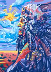 native headdress feathers feather color chief portrait warrior artwork design popart spiritual west western desert arizona southwest decor home sitting bull geronimo wall interiors history usa america decorative modern vintage illustration indian abstract