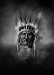 native headdress feathers feather black white chief portrait warrior artwork design popart spiritual west western desert arizona southwest decor home sitting bull geronimo wall interiors history usa america decorative modern movie posters indian illustration