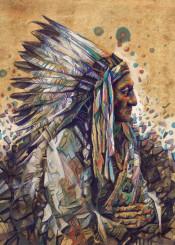 native headdress feathers feather color chief portrait warrior artwork design popart spiritual west western desert arizona southwest decor home sitting bull geronimo wall interiors history usa america decorative modern vintage illustration indian movie posters