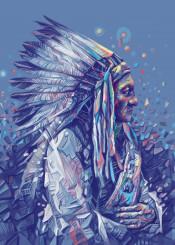 native headdress feathers feather color chief portrait warrior artwork design popart spiritual west western desert arizona southwest decor home sitting bull geronimo wall interiors history usa america decorative modern movie vintage illustration indian